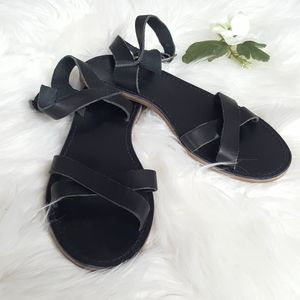 Madewell Boardwalk Crisscross Black Leather Sandal